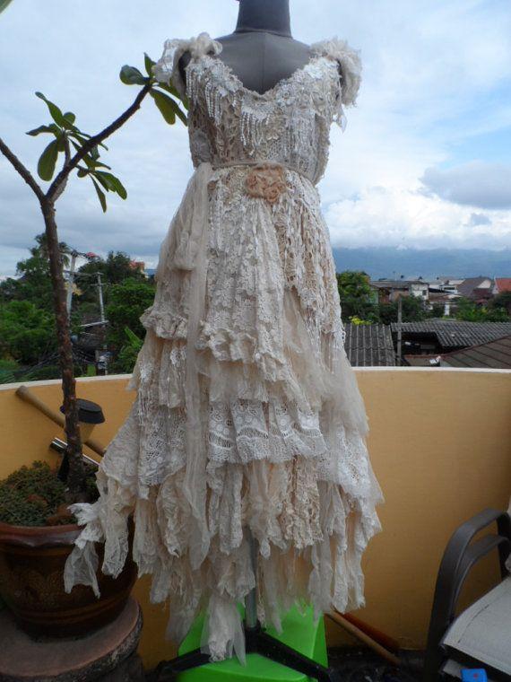 "20%OFF wedding dress bohemian lagenlook gyspy vintage boho ..larger 42'' to 50"" bust.."