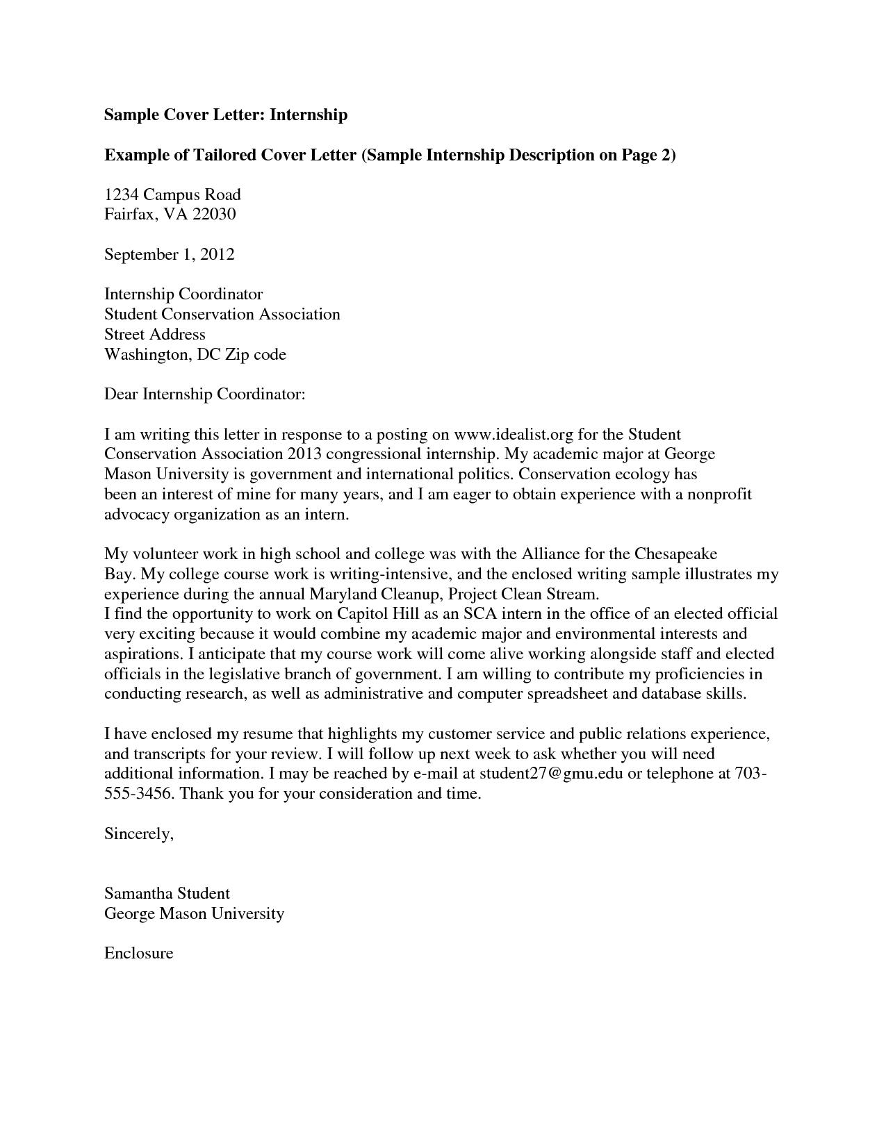 Cover Letter Template University Cover letter for internship