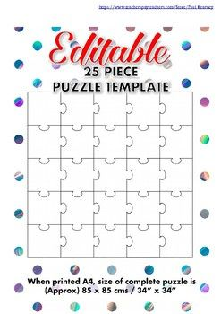Editable 25 piece blank jigsaw puzzle template classroom blank jigsaw puzzle template with 25 pieces for a multitude of activities print and get pronofoot35fo Choice Image