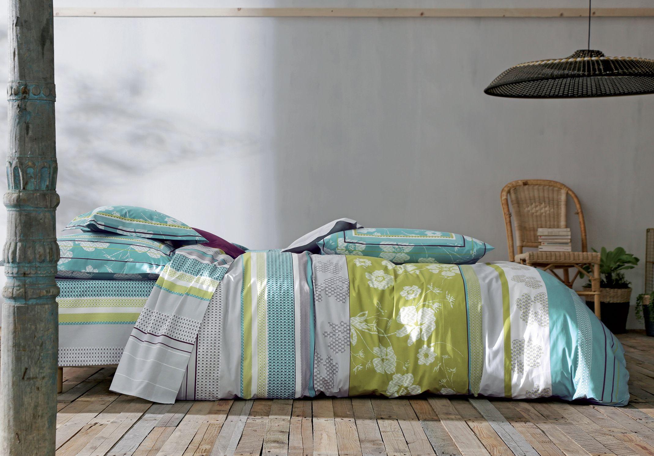 linge de lit blanc des vosges boh me turquoise housse de couette taie d 39 oreiller et taie de. Black Bedroom Furniture Sets. Home Design Ideas
