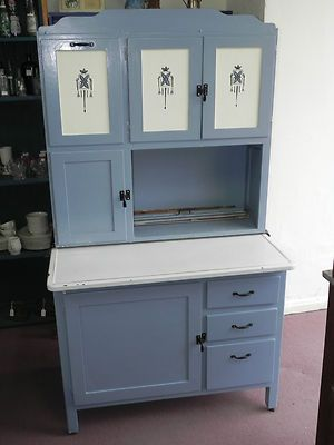 Genial Vintage Blue/White Paint Primitive Kitchen Cabinet,Porcelain Top  Table,Flour Bin