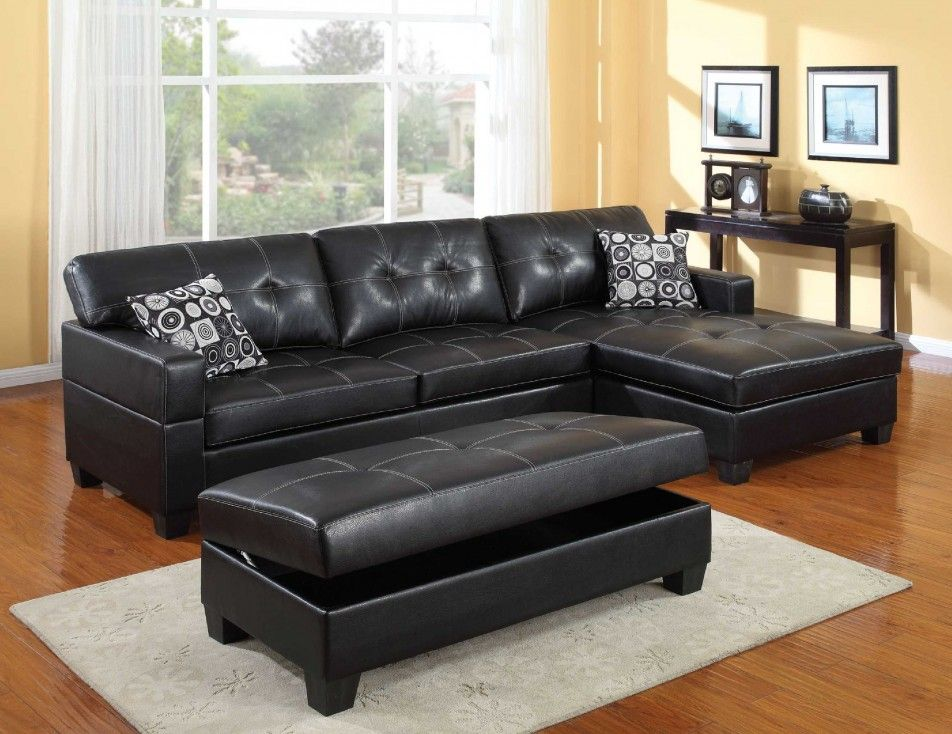 Featured Contemporary Living Room Decor With Black Leather Couch Also Cushion Along