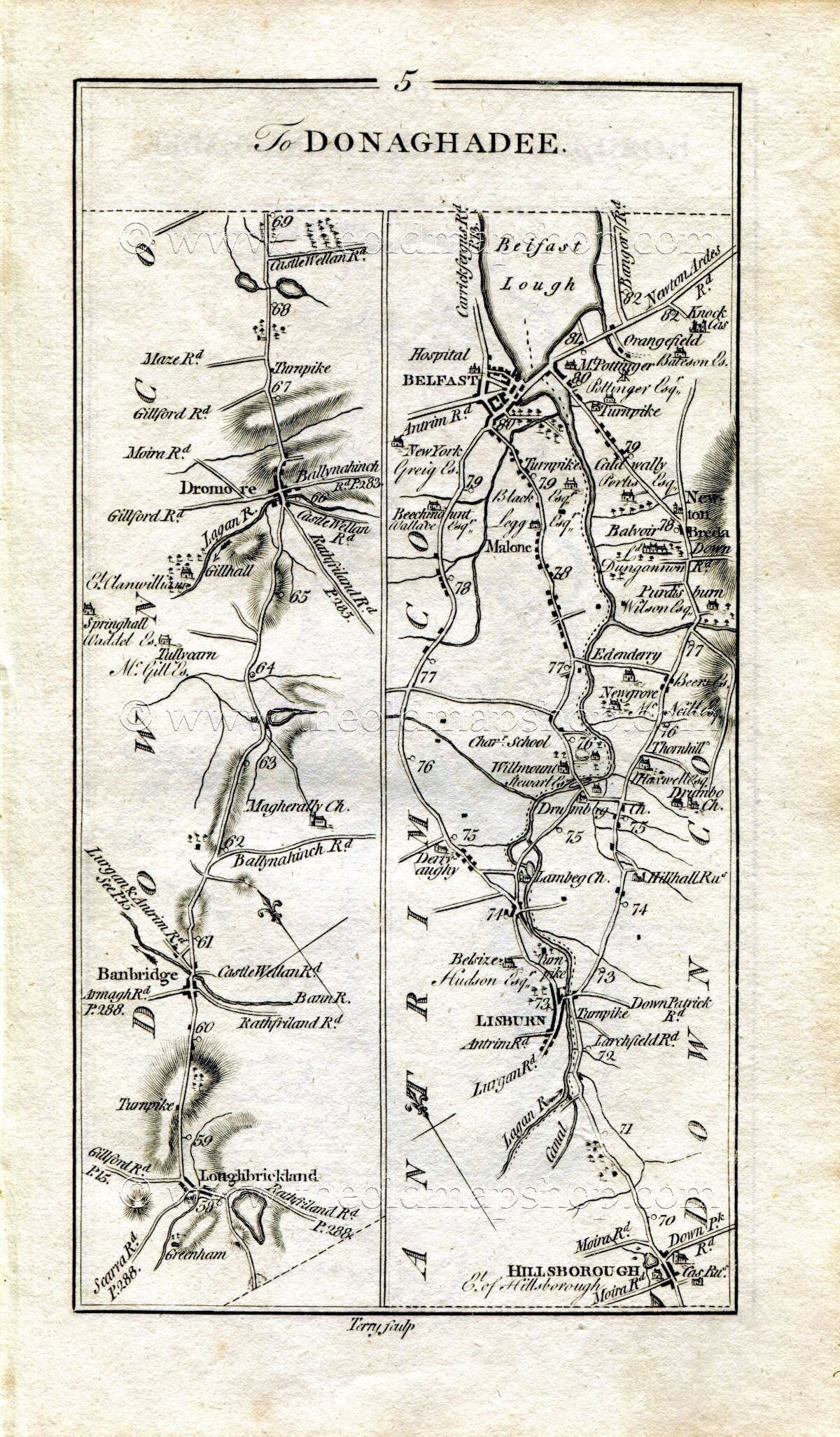 1778 Taylor Skinner Antique Ireland Road Map 56 Loughbrickland