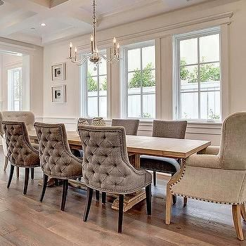 Long Trestle Dining Table With Gray Velvet Tufted Chairs