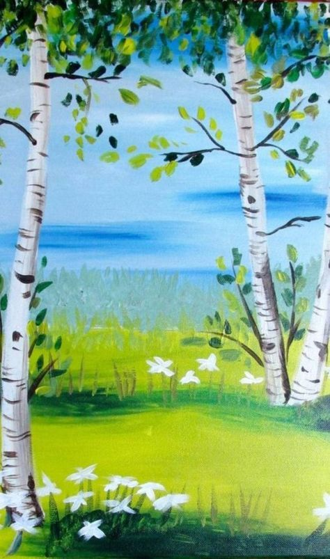 Easy Acrylic Painting Ideas For Beginners Birchwood Trees And Flowers