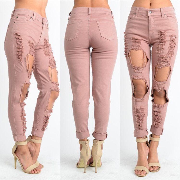 Mujeres Sexy Cintura Baja Skinny Jeans Delgado Stretch Pink Denim ...