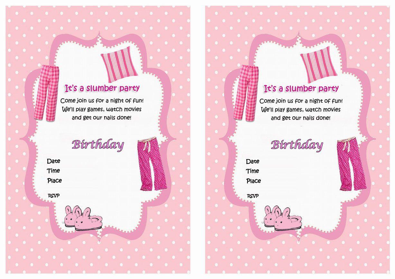 Sleepover Themed Free Printable Birthday Party Invitations