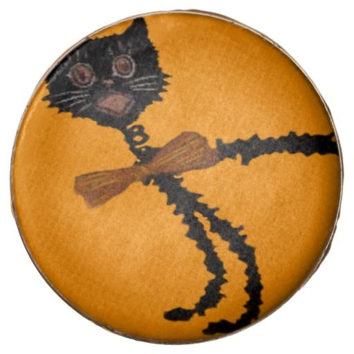 Springy Black Cat Halloween Decoration Chocolate Dipped Oreo