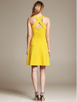 Ponte Cross Back Fit and Flare Dress | Banana Republic
