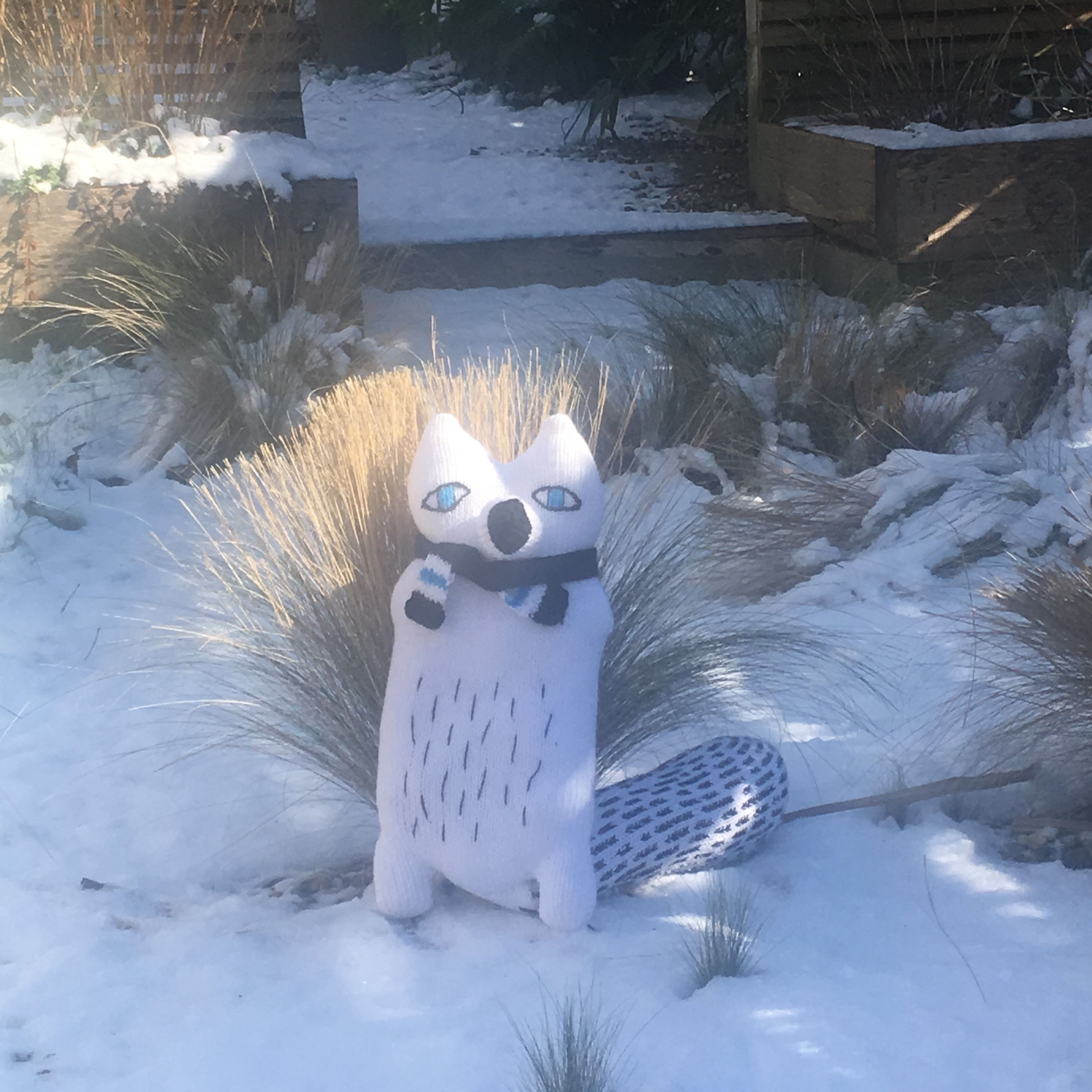 Arctic fox toy fox arcticanimal handmade knit