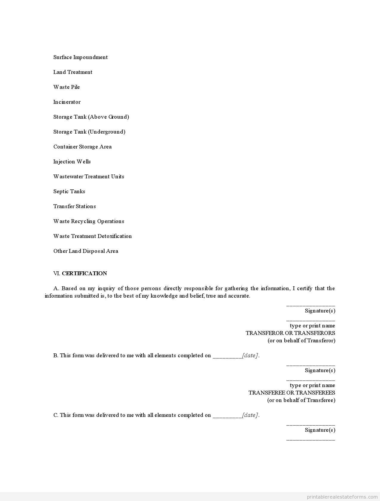 Sample Printable Illinois Environmental Disclosure Document For