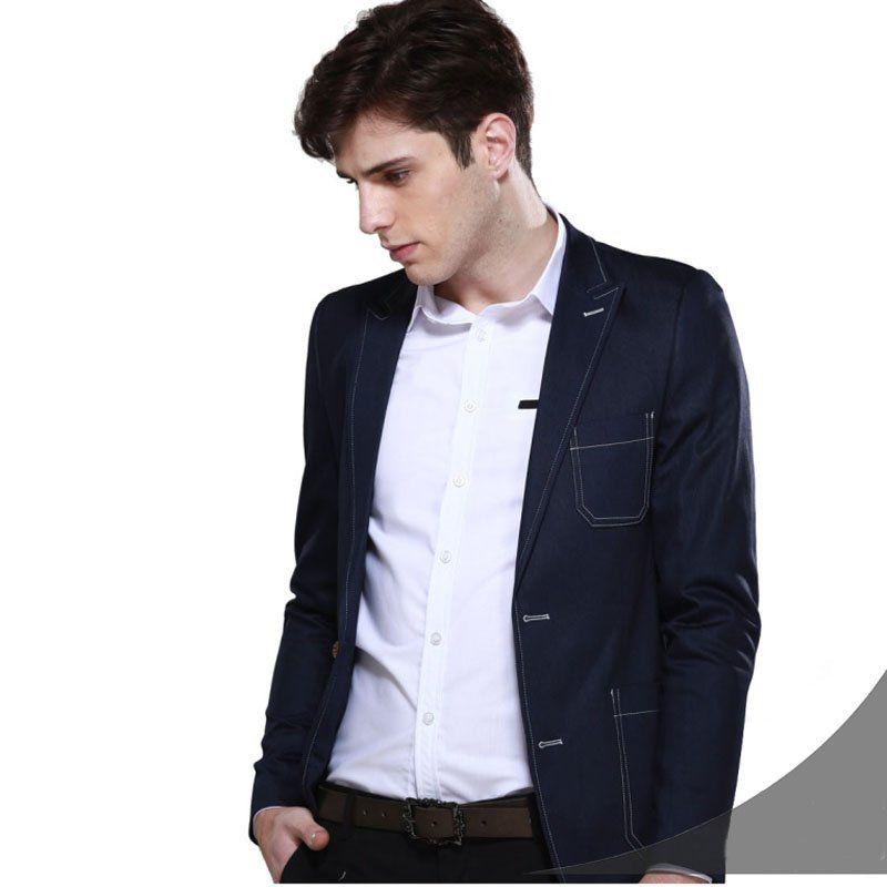 Peaked lapel patch pocket denim jacket | Peak lapel fetishism