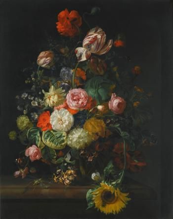 Still Life Of Roses, Tulips, a Sunflower And Other Flowers In a Glass Vase With a Bee, Butterfly And Other Insects Upon a Marble Ledge by RACHEL RUYSCH