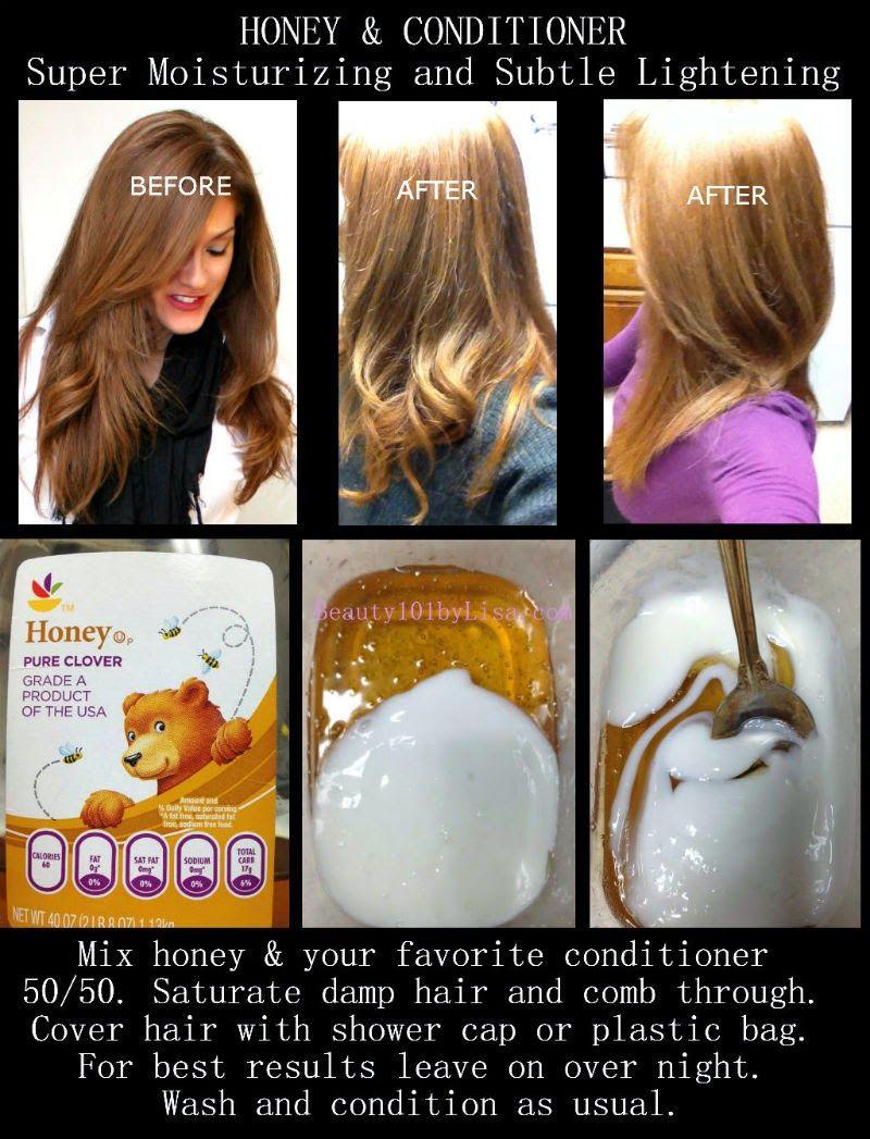 Honey And Conditioner Mis Makes Hair Lighter Lighten Hair Naturally How To Lighten Hair Bleached Hair