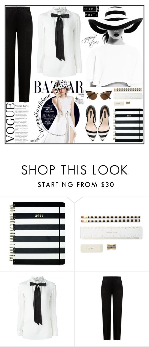 """""""Graphic stripes"""" by kerol-bartoli ❤ liked on Polyvore featuring Kate Spade, Alberta Ferretti and Dsquared2"""