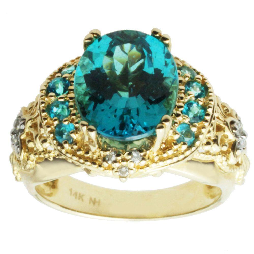 Michael Valitutti 14k Yellow Gold Paraiba Apatite and Diamond Ring | Overstock.com