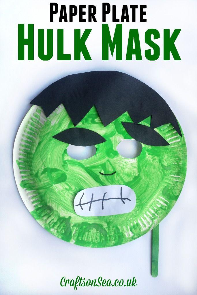 Paper Plate Hulk Mask #superherocrafts