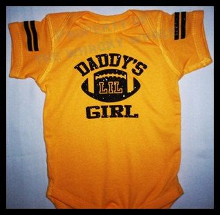 Glitter Bling Football Daddy's Girl football one-piece jersey. $10.99, via Etsy.