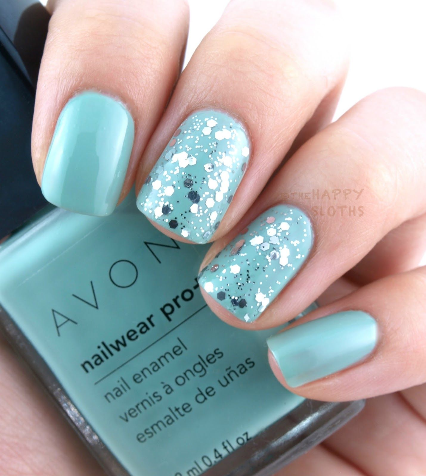 The Happy Sloths: Spring Nails with Avon: Sea Breeze & Disco Ball ...