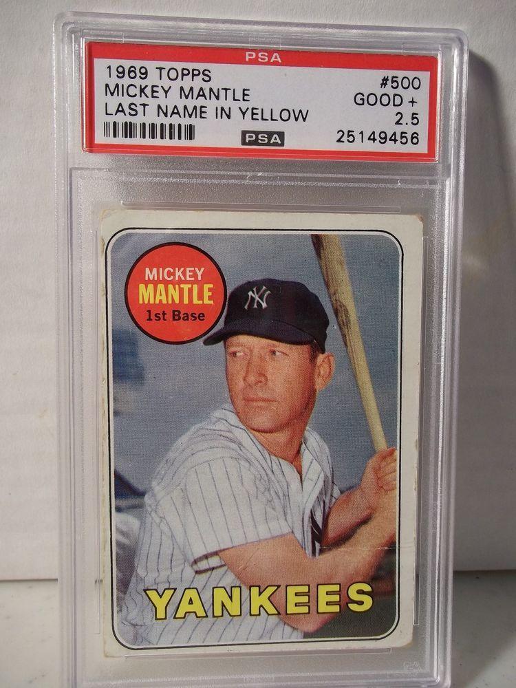 1969 topps mickey mantle psa good 25 baseball card 500