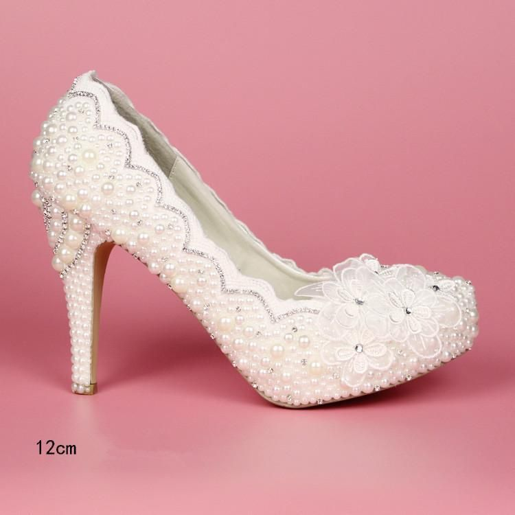 a209afe064500 White lace women plus size high heel wedding shoes bride crystal ...