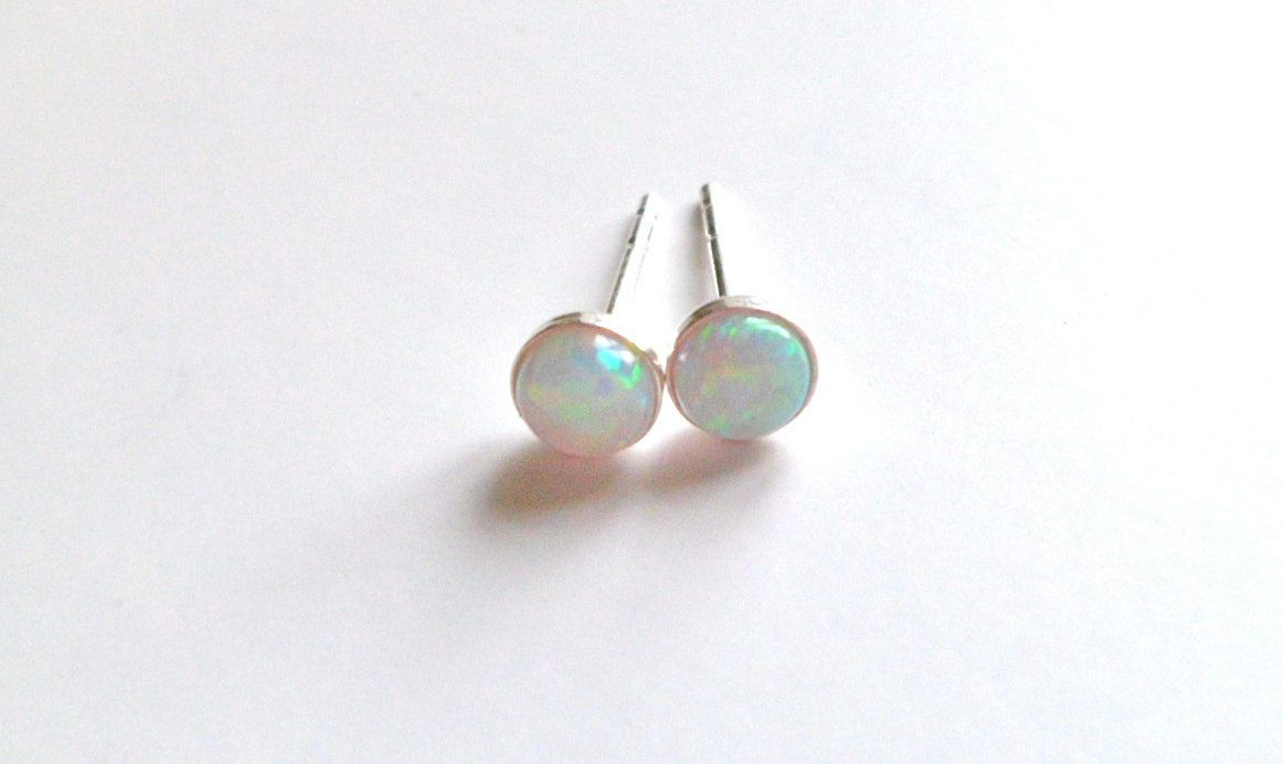 Tiny Opal Stud Earrings Natural Small Sterling Silver Post 4mm By Lefrenchchic On Etsy
