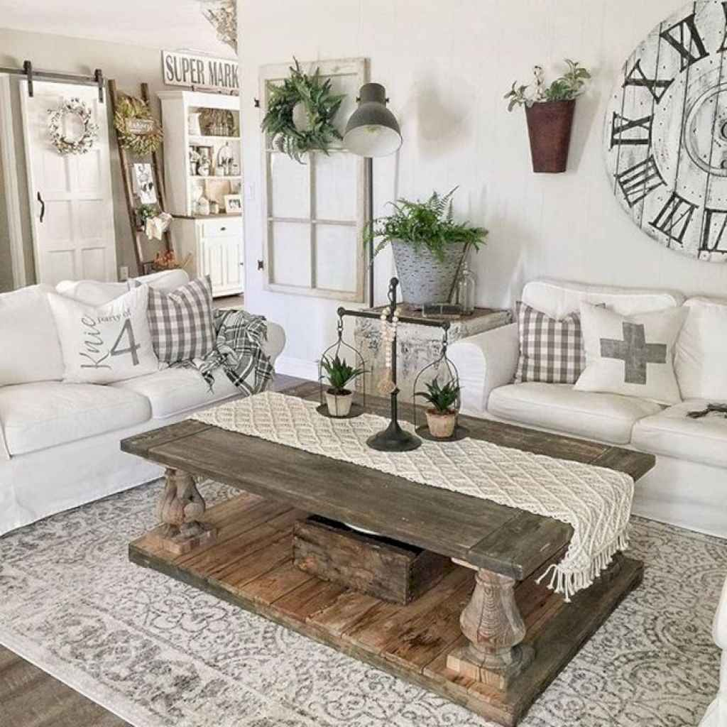 Stunning Rustic Living Room Farmhouse Style Decorating