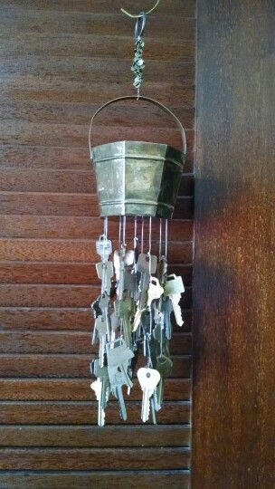 Brass Bucket And Brass Keys Wind Chime Makes A Beautiful Sound