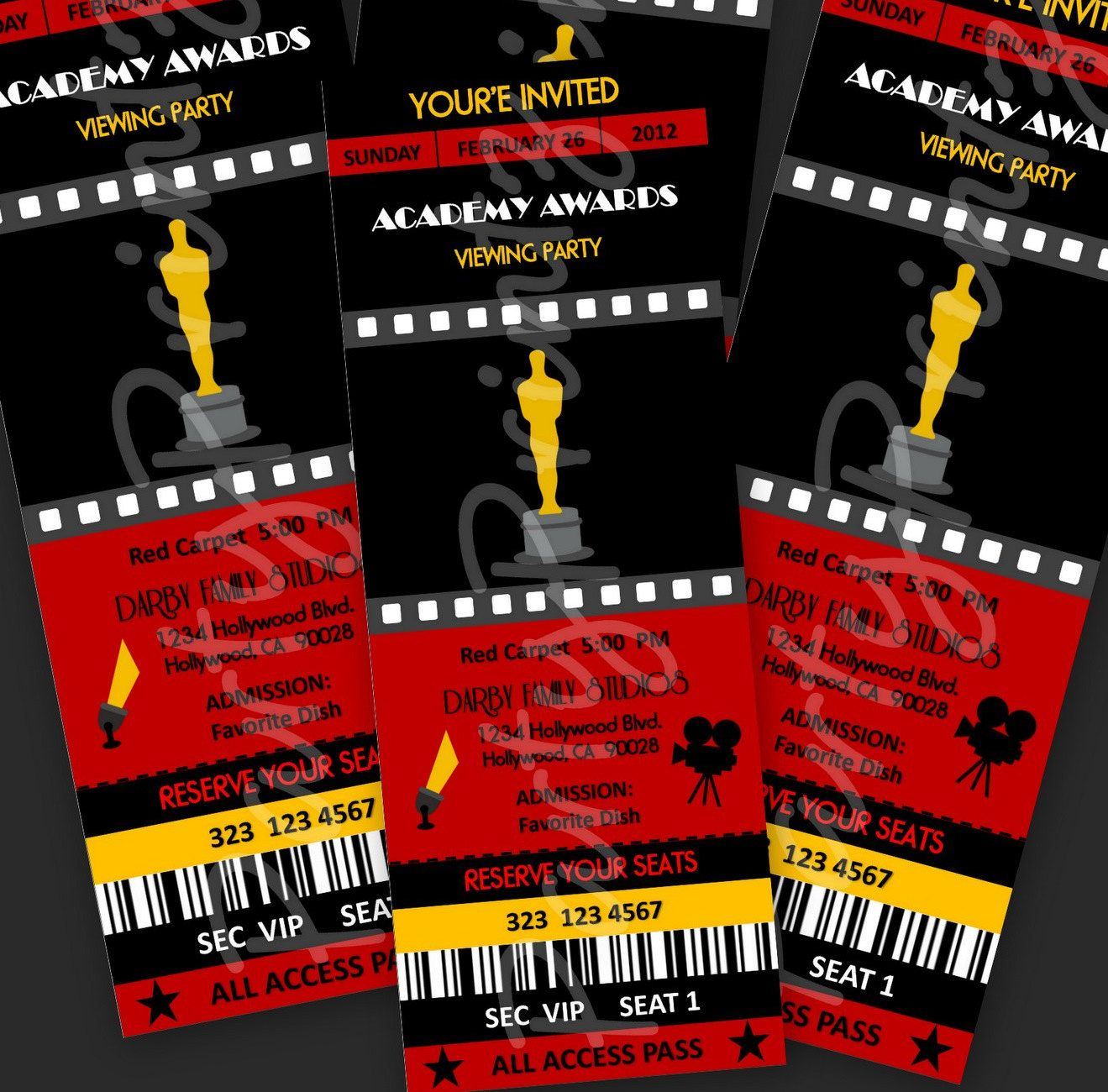 Printable  Academy Awards  Oscars  Hollywood Party  Event