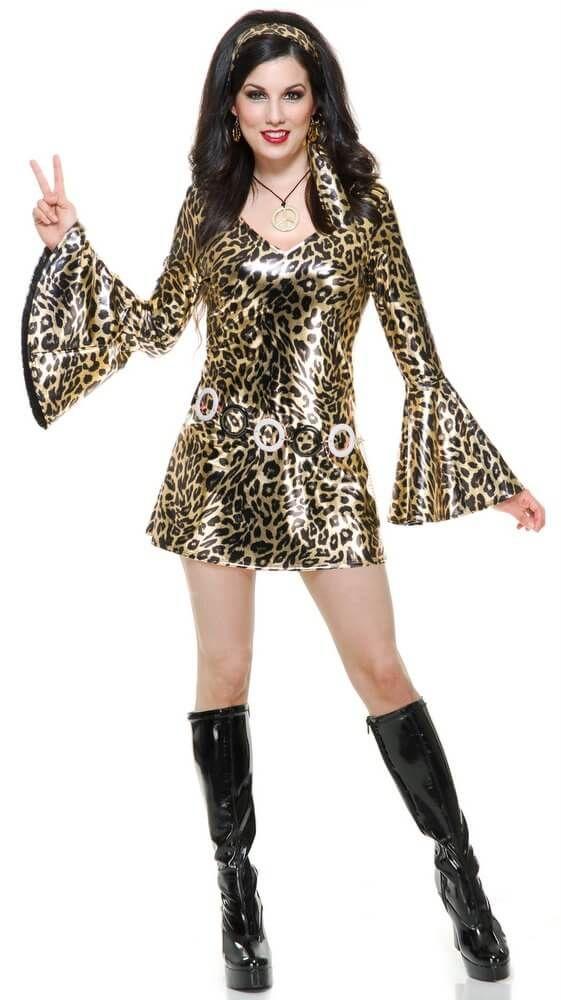02009daf Adult Gold Leopard Print Disco Diva Costume - Women's 60s & 70s Costumes