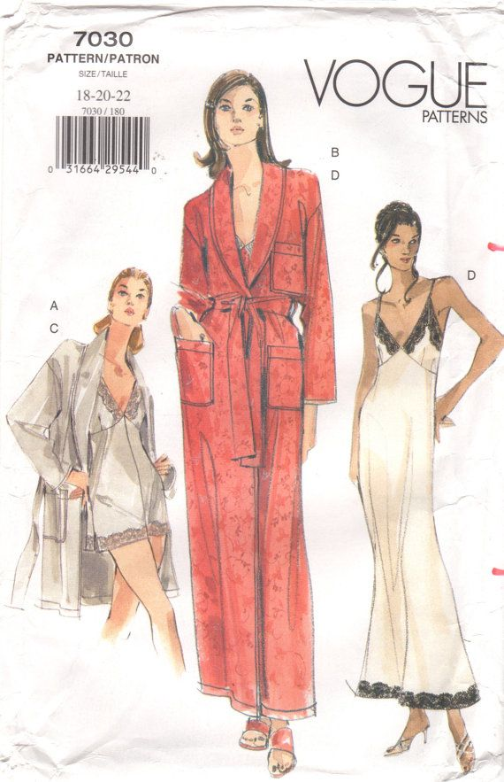 f8cb83a4e7  18 Vogue 7030 (out-of-print 1990 s old stock) Plus-Sz Bias Nightgown w   lace trims