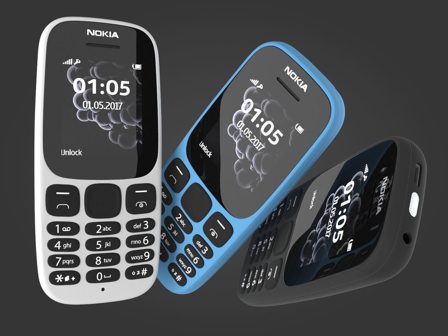 Nokia 105 2017 White Blue Black 3D model Nokia, Blue