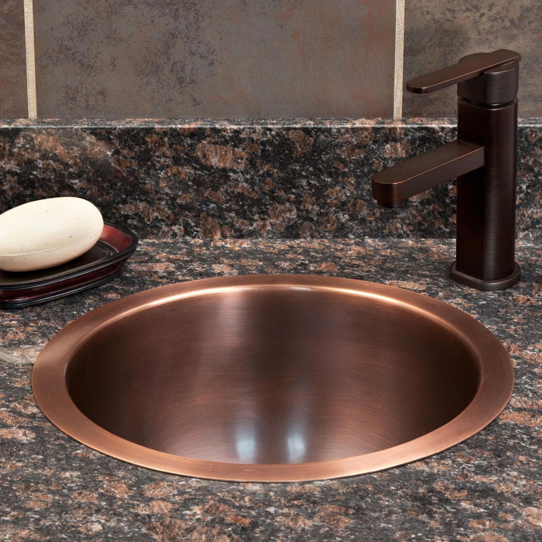 14 Baina Extra Deep Round Copper Sink Undermount Sinks Bathroom Sinks Bathroom Rusticbathro Copper Sink Bathroom Drop In Bathroom Sinks Copper Bathroom