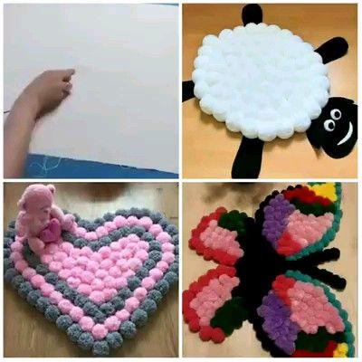 Aprenda como fazer tapete de pompom passo a passo #tutorial #pap #diy #comofazer #artesanato #tapete #croche #pompom