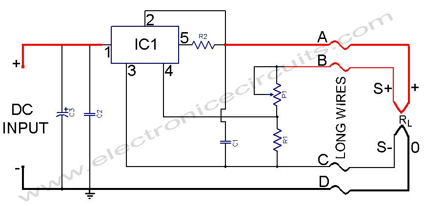 L200 Power Supply Regulator With Sense Lines Circuit Diagram