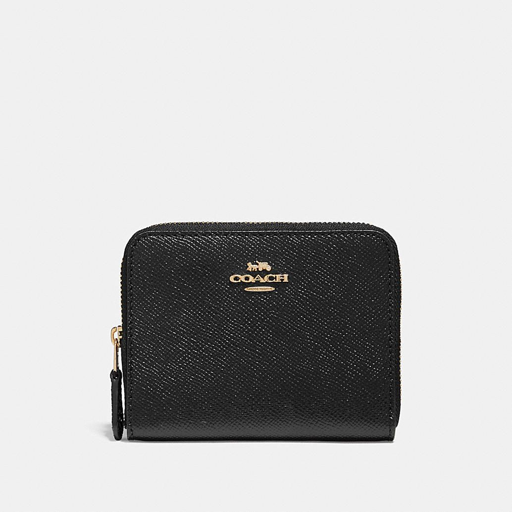 Coach Women/'s Small Wristlet Patent Crossgrain Leather Wallet Black//Light Gold