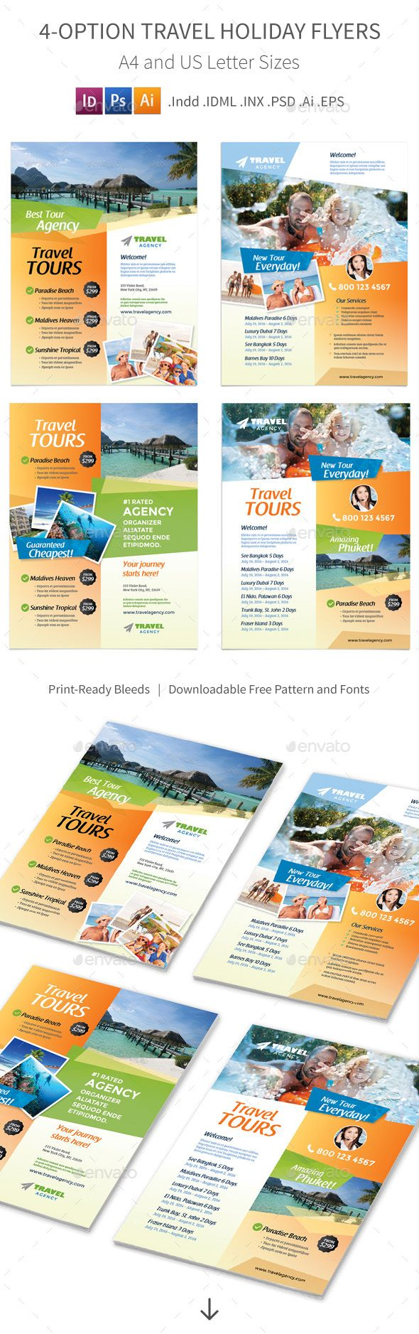 Travel Holiday Flyers – 4 Options | Psd templates, Template and Holidays