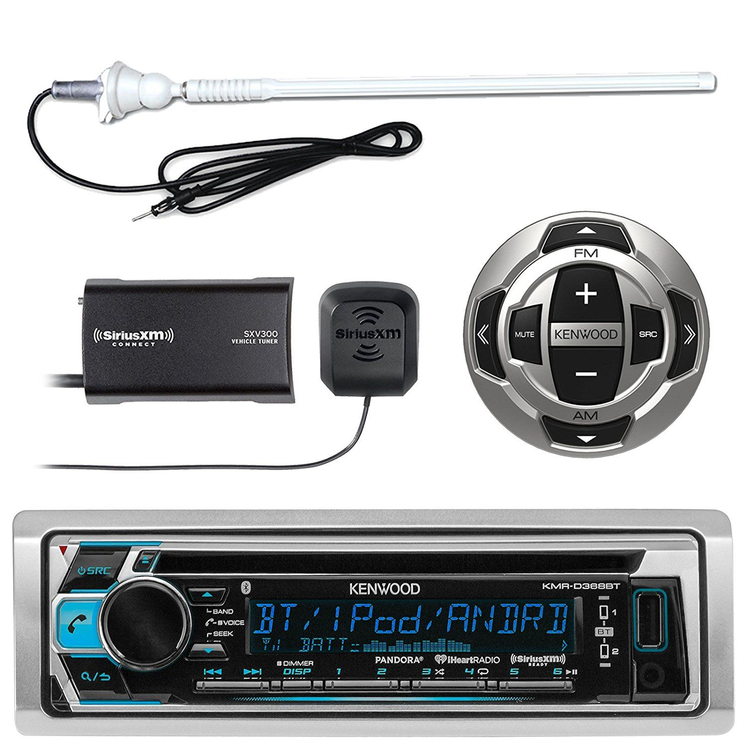 Amazon.com: Kenwood KMR-D368BT MP3/USB/AUX Marine Boat Yacht Stereo ...