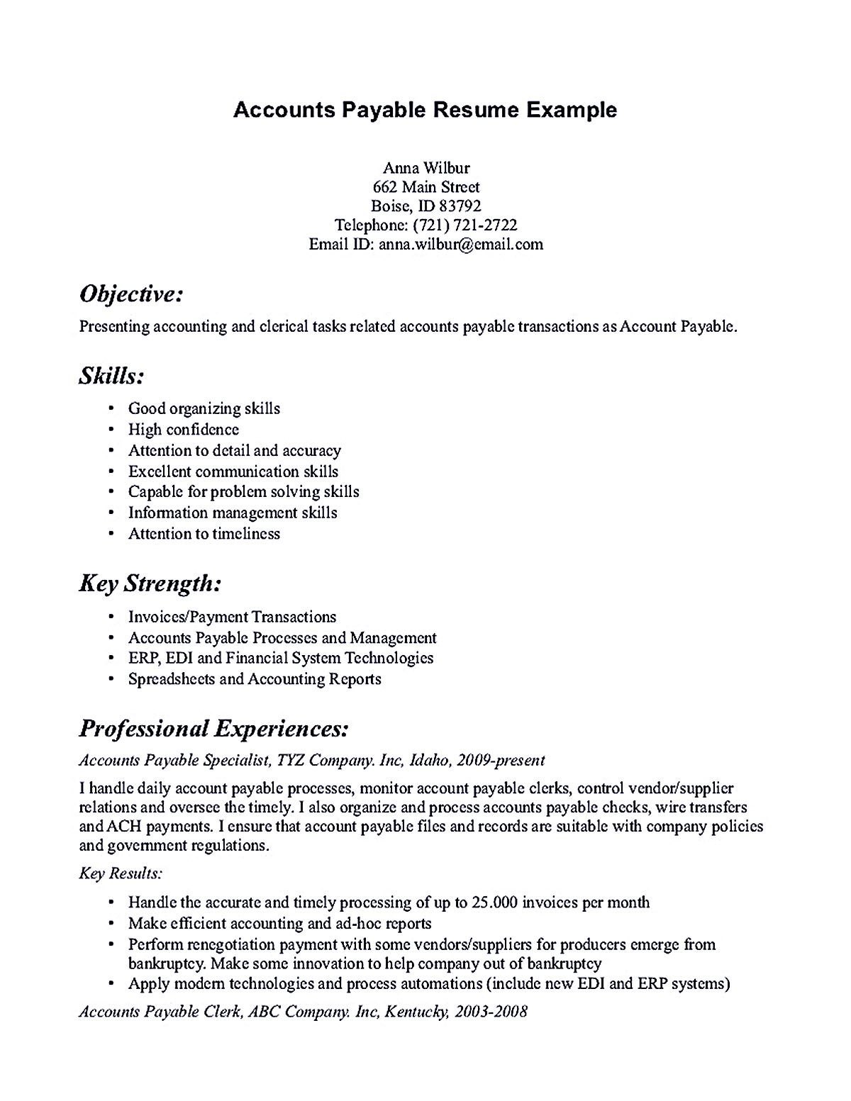 Objective For Accounts Payable Resume Account Payable Resume Display Your Skills As Account