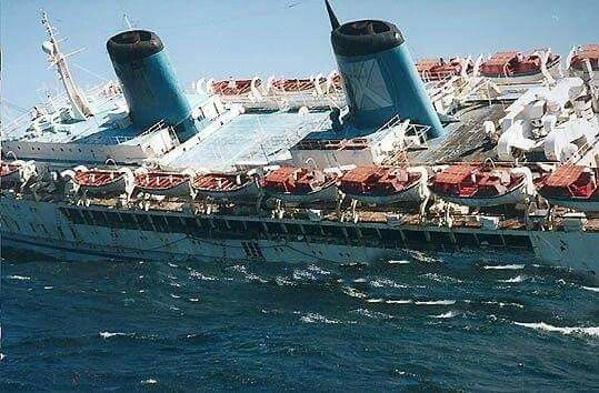 Britanis From The Side As It Capsized October - Sinking cruise ship oceanos