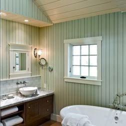 tongue and groove paneling | cottage bathroom, home
