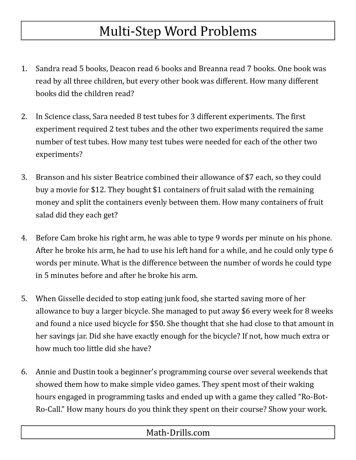 The Easy Multi-Step Word Problems math worksheet from the Word Problems  Worksheets page…   Multi step word problems [ 1584 x 1224 Pixel ]