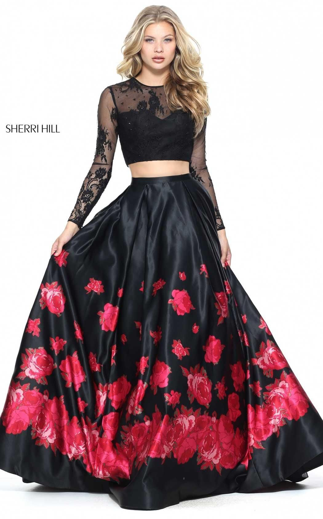 2017 Floral Printed Black/Red Lace Long Sleeves Two Piece Sherri Hill 51195  Long Satin Prom Dresses