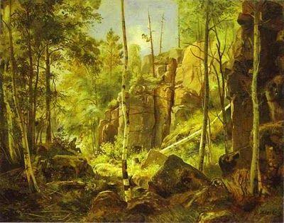 Painting by Ivan Shishkin View of Valaam Island. Kukko. 1859.