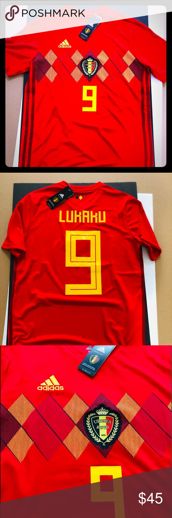 a5d46dffa LUKAKU #9 Soccer Jersey 2018 World Cup Belgium 2018 Belgium World Cup  Soccer Jersey Romelu Lukaku #9 Adult sizes: SMALL to XL New w/ Tags The  team that ...