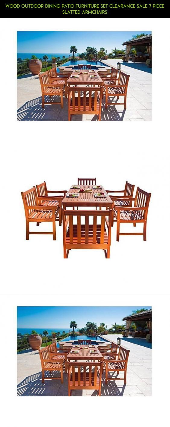 Wood Outdoor Dining Patio Furniture Set Clearance Sale 7 Piece