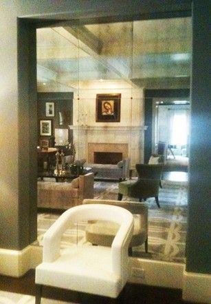 Mirror Panels For Walls antiqued mirror glass atlanta - residential - wall panel recessed