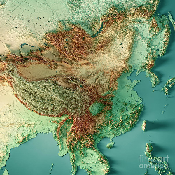 Topographic Map Of China China 3D Render Topographic Map Color Art Print by Frank Ramspott