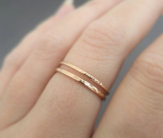 Solid 14K Rose Gold Thin 1.5mm Skinny Rope Wedding Band Stackable Ring