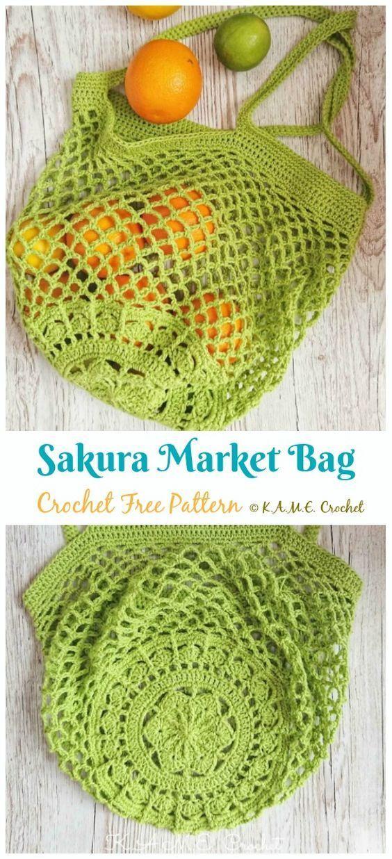 Photo of Crochet Market Bag Kostenlose Muster –  Sakura Market Bag Crochet Free Pattern …